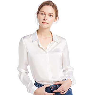 LilySilk Women's 100 Silk Blouse Long Sleeve Lady Shirt 22 Momme Charmeuse Silk at Women's Clothing store