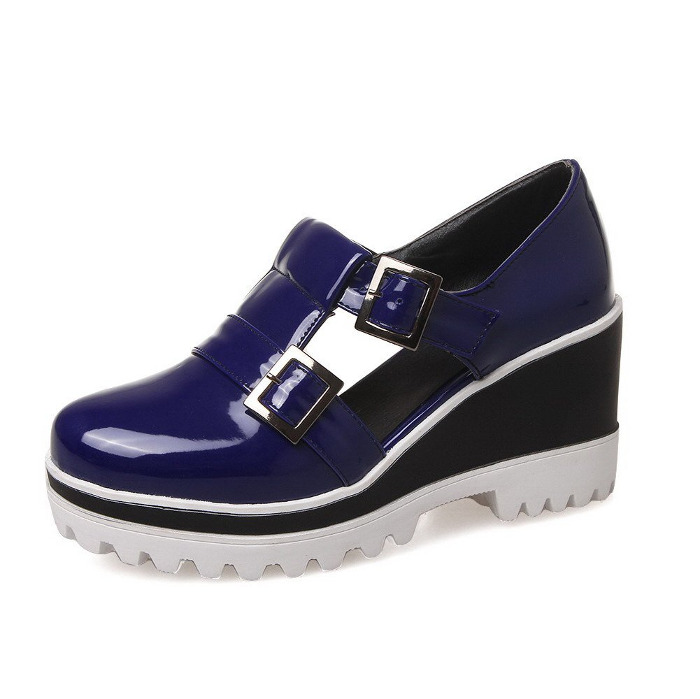 AmoonyFashion Women's Pull On Pu Round Closed Toe High-Heels Solid Pumps-Shoes, Blue, 40