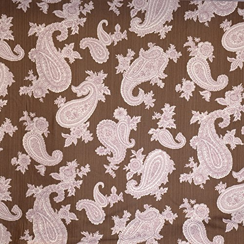 (Suede Brown Paisley Print Pattern Contemporary Modern Prints Upholstery Fabric by the yard)