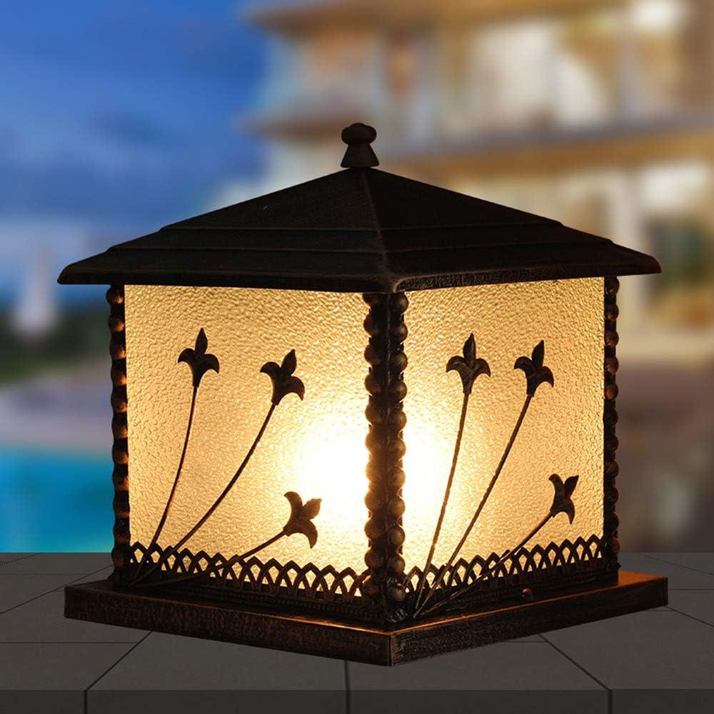 Rishx Lámpara de Columna de Aluminio Impermeable al Aire Libre Lámpara de Columna clásica Europea Cuadrada Resistente a la corrosión de la Pared del Chalet Puerta de jardín de la Huerta decoración de