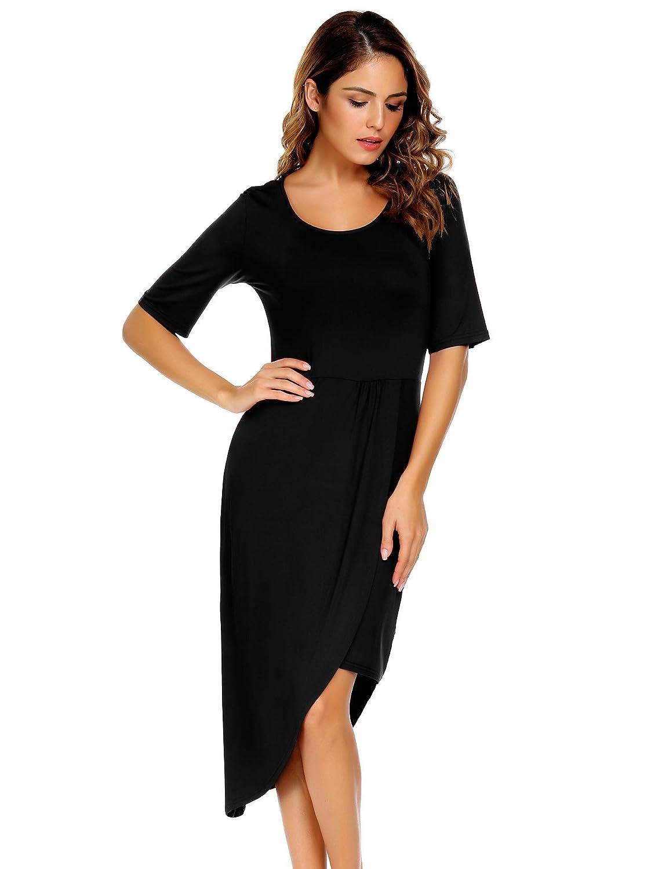 Zeagoo Women's Scoop Neck Half Sleeve Asymmetric Hem Pleated High Low Casual Midi Dress AMH017311