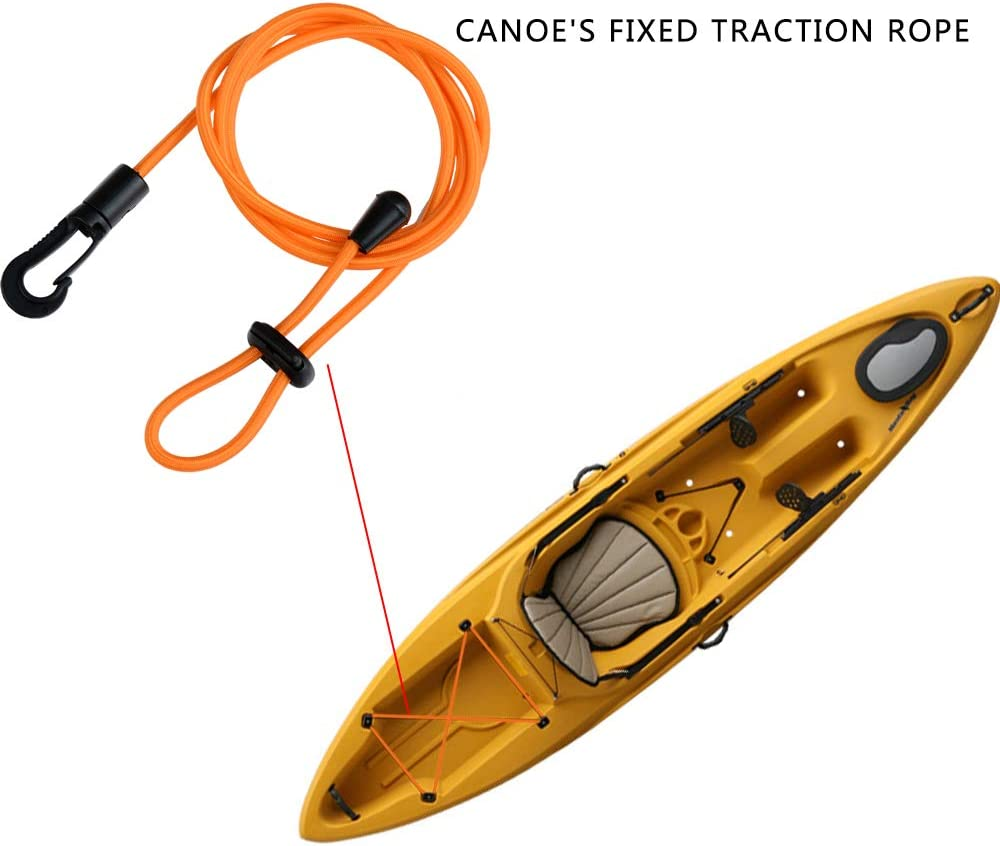 Kayak Paddle Leash 2 Pcs Safety Rod Adjustable Canoe Paddle Fishing Rod Survival Paracord Bungee Cord Safety Lanyard Strap With Snap Hook for Kayaking Securing Canoe SUP Board Rowing Surfing Cycling