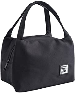 Sttech1 Insulated Canvas Box Perfect for Kids or Parents, Portable Moisture Resistant Cooler Food Tote Lunch Bags (Black 1)