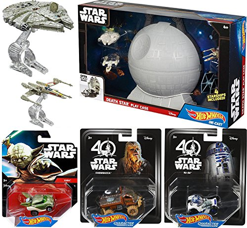 Star Wars Hot Wheels Mega Action Playset 4 Starships with Death Star Carrying Case & Yoda / Chewbacca & R2-D2 Character Cars - X-wing / Millennium Falcon / Tie Fighter / Y-Wing