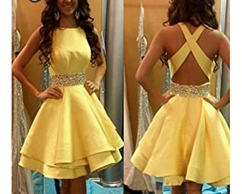 MEILISAY Womens Crew Beading Prom Dresses Short Sequiuned Homecoming Dresses Mini Cocktail Dresses at Amazon Womens Clothing store: