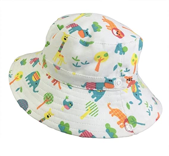 7c684ead486 Roffatide Kids Zoo Printing Safari Bucket Hat Fishing Hat Boys Girls Summer  Reversible Sun Protection Hat