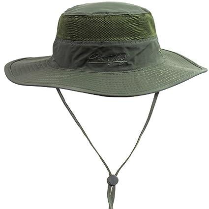 1ccc7164f27 FEOYA Mesh Camping Boonie Hat Sunhat Beach Sun Visor Shade Wide Brim Cap  With Chin Strap