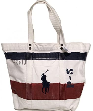 124056023594 Polo Ralph Lauren Cotton Canvas Big Pony Zip Tote Bag One Size Oxford