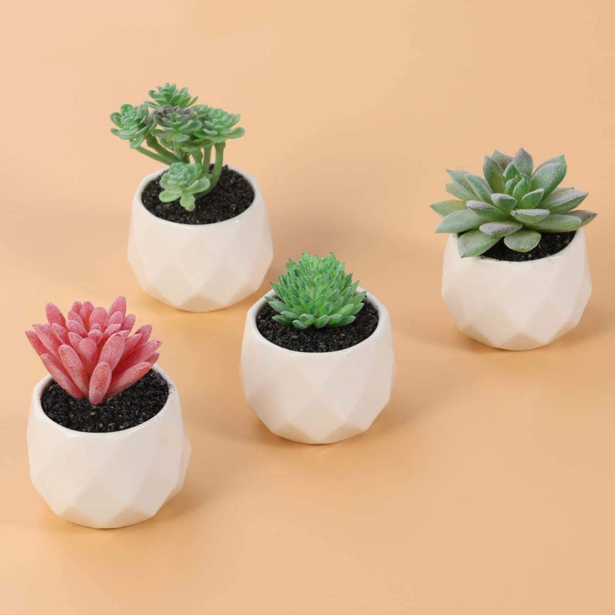 Yardwe 4PCS Artificial Succulent Plants Fake Plant Potted Greenery Tabletop Decor in White Ceramic Pots for Home Office Outdoor Indoor