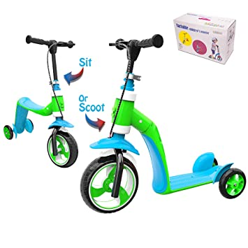 Verkstar Kick Scooter for Kids Toddlers Girls Boys, 2 in 1 Kids Scooter with Handbrake, Adjustable Handle, Extra-Wide Deck, The Latest Outdoor Toys ...