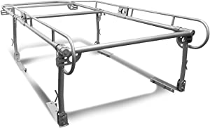 Universal Adjustable 132 inches X 57 inches Steel Pickup Truck Ladder Rack (Silver)