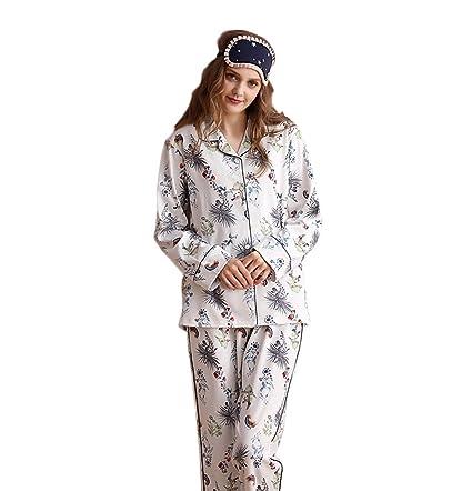 Las mujeres caen los pijamas de la rebeca del algodón Los pantalones de manga larga (