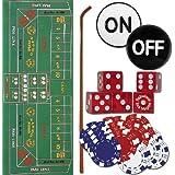 TMG Deluxe Home Craps Set Bonus Deck Cards - Includes Felt, Dice Stick, Dice Cup, Dice, Chips & Button!