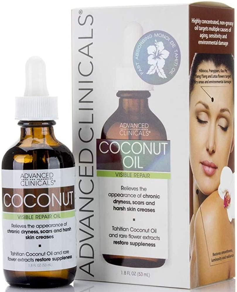 Advanced Clinicals Coconut Oil for Skin. Repair Coconut Oil for Face, Body and Hair. For Chronic Dryness, Scars, Stretch Marks and Harsh Skin Creases. 1.8 Fl Oz.