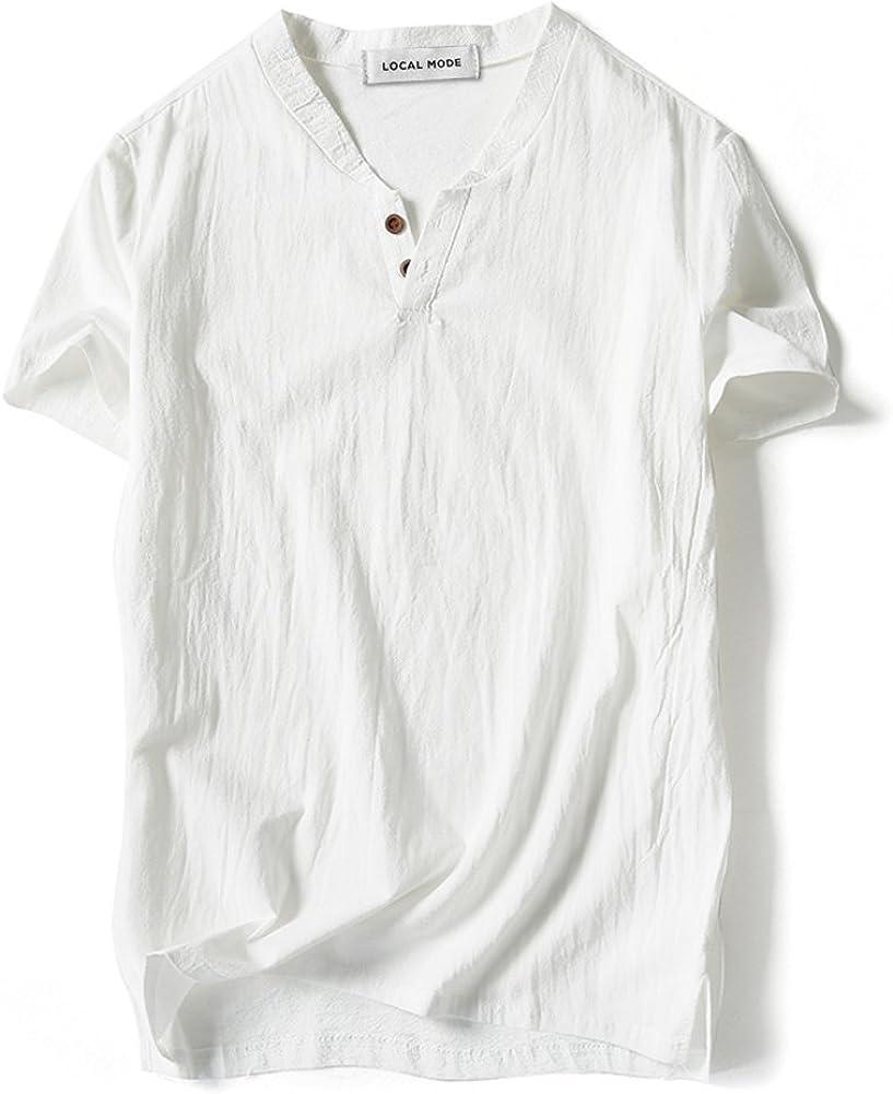 Mens Vintage Shirts – Retro Shirts LOCALMODE Men Linen and Cotton V Neck Short Sleeve T Shirts Casual Tee $18.99 AT vintagedancer.com