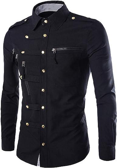 Lu Studio - Camisa para Hombre con Botones Dorados y Bolsillos con Cremallera, Azul Marino - Negro - Large: Amazon.es: Ropa y accesorios