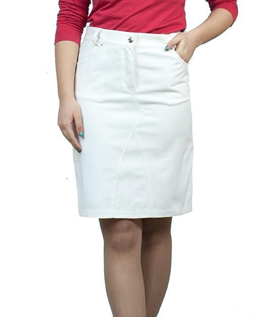 rivenditore di vendita 87f83 87943 Souvenir-Fashion Gonna Casuale a Tubo bianca midi di jeans ...