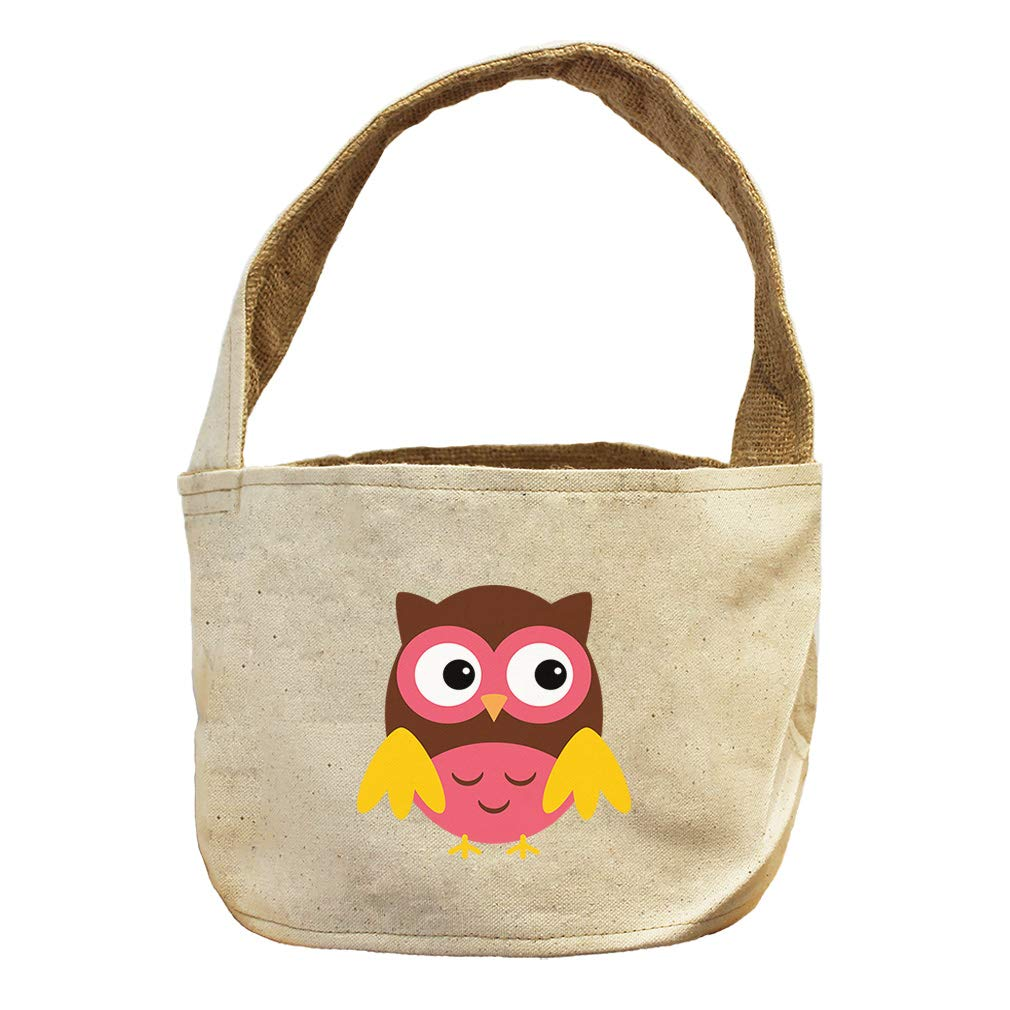 Style in Print Owl Pink Yellow Brown Animals Canvas and Burlap Storage Basket