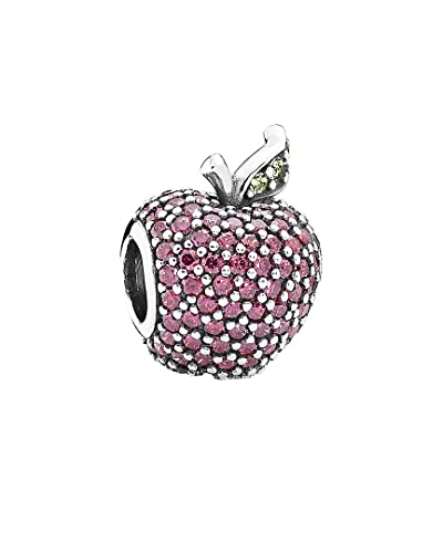 54f7e99e6 Amazon.com: Pandora Red Pave Apple Silver Charm with Green Crystals  791485CFR: Jewelry