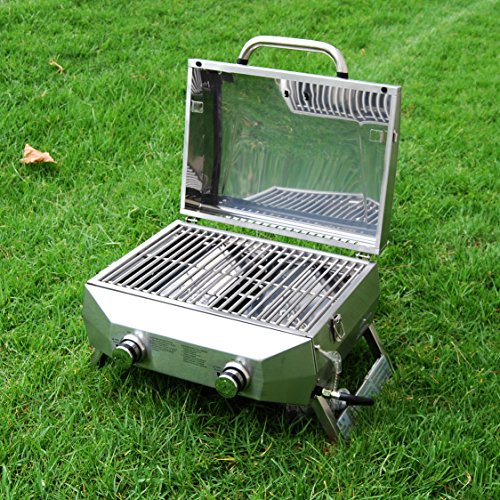 SUPERSPACE 2 Burner Stainless Steel BBQ Tabletop Propane Gas Grills, 20,000 BTU by SUPERSPACE