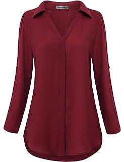 ecb14f2c8932 MOQIVGI Womens Zip Shirts V Neck 3/4 Roll Long Sleeve Chiffon Blouse ...