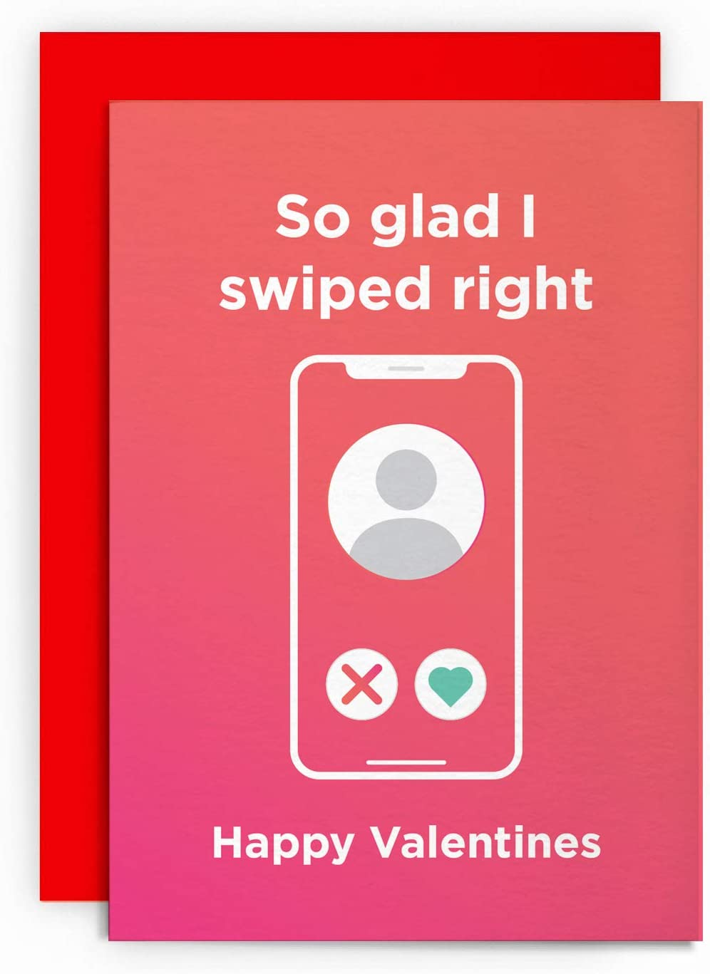 Valentines Day Card Valentines Funny Tinder Husband Wife Boyfriend Girlfriend Love Greeting Happy for Him Her Joke LOL SO Glad I Swiped Right