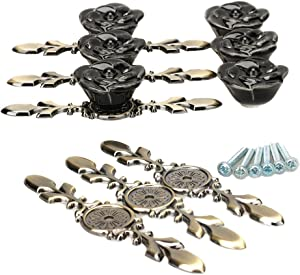 SunKni 6 Pack Ceramic Knobs and Pulls for Kitchen Cabinets Cupboards Wardrobe Furniture Hardware Ceramic Door Knobs Dresser Drawer Knobs for Girls, Floral Rose Flower Knobs with Back Plates (Black)