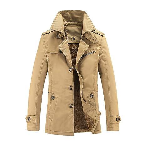 Qiusa Abrigo de hombre, tamaño extra sólido, botón de polar Parka, bolsillo informal