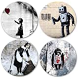 Coastero Absorbent Stone Coasters - BANKSY ART II - Set of 4