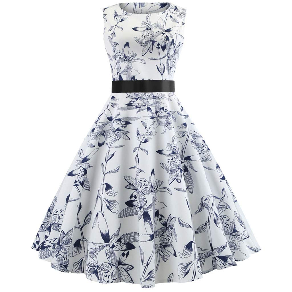 6ea6cce9409 Amazon.com  Fanteecy Women s Floral Printed Rockabilly Vintage Dress 1950s  Retro Cocktail Prom Party Swing Dress with Sash  Clothing