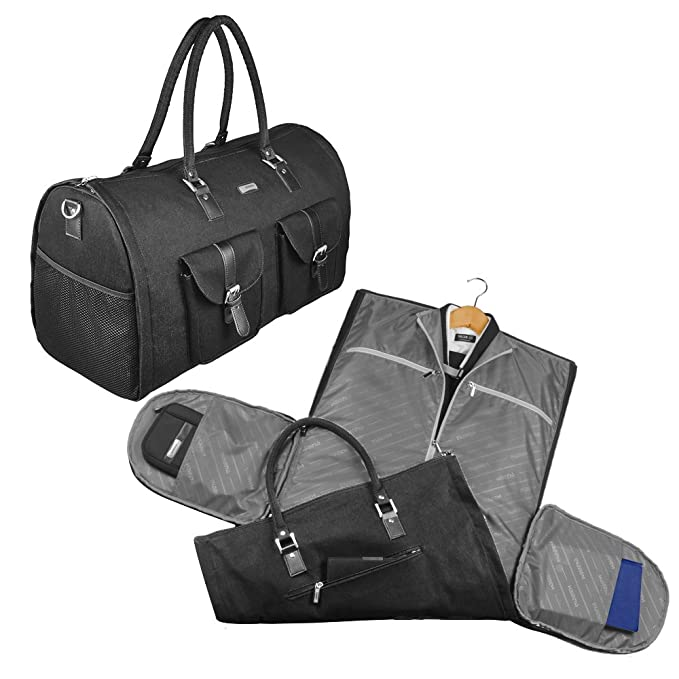 2 in 1 Convertible Travel Garment Bag Carry On Suit Bag Luggage Duffel 07423f03d36fe