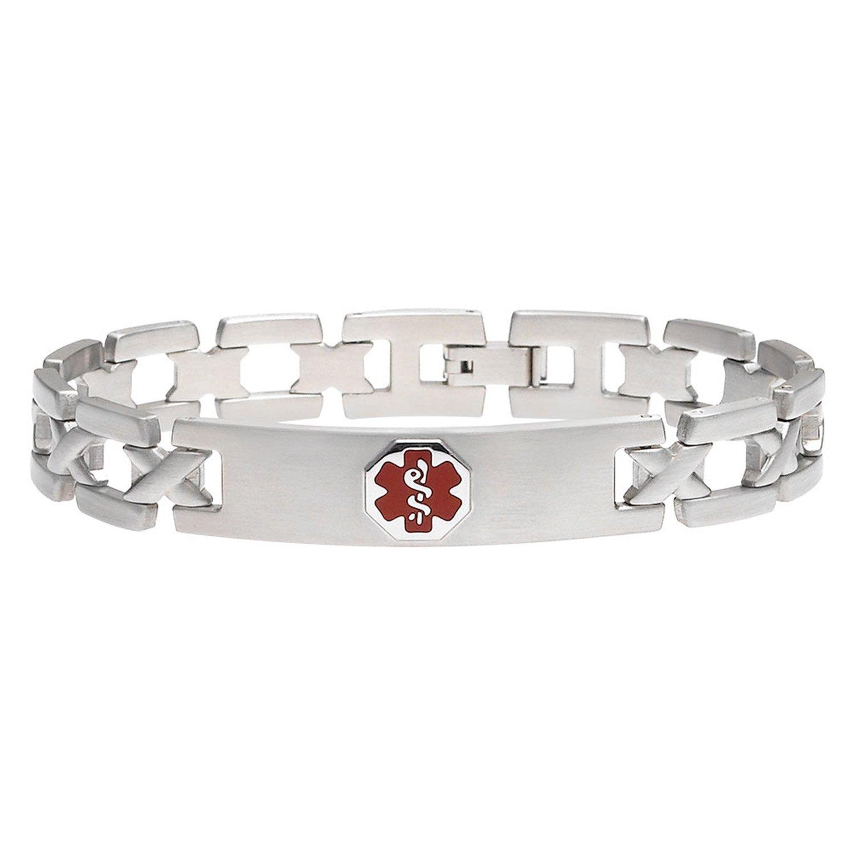 Divoti Custom Engraved X-Link 316L Medical Alert Bracelet for Men - Red Divoti Inc. 1223RE-75