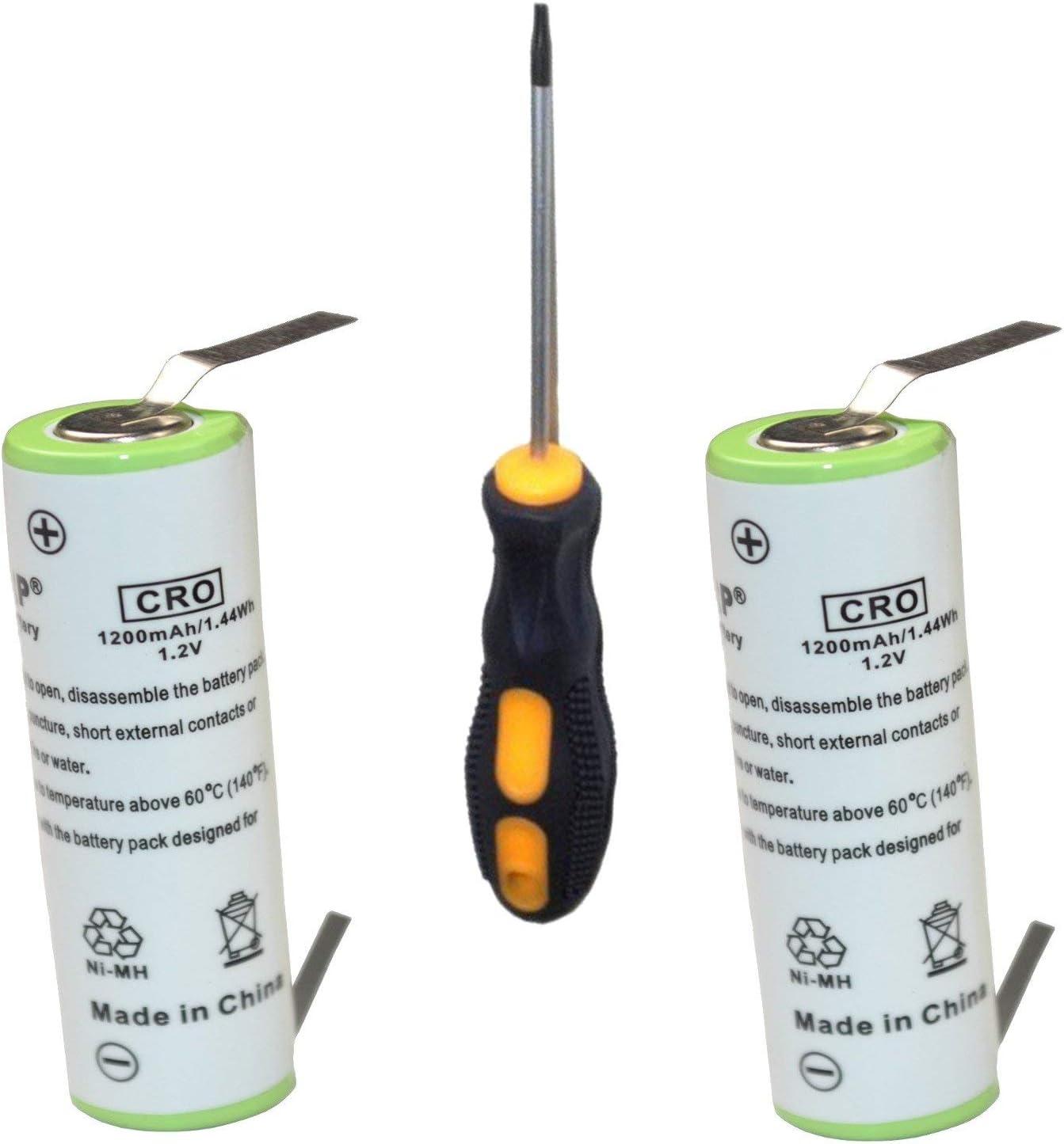 HQRP Paquete de 2 baterías Recargables Braun FreeGlider Modèle 6620 / Type 5708 / Modèle 6680/6690 Rasoir + HQRP Destornillador y Posavasos