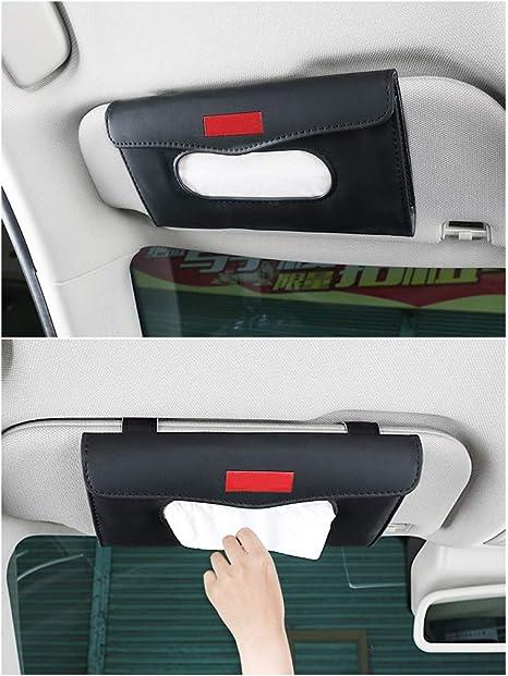 Yijueled Sun Visor Car Tissue Holder Bling Car Tissue Box Holder Leather Crystals Vehicle Tissue Case Holder Tissue Dispenser Car Napkin Holder