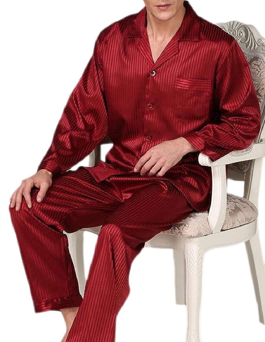 RRINSINS Men Shirt and Pant Pajama Stain Sleepwear Pajama Set Satin Home Wear