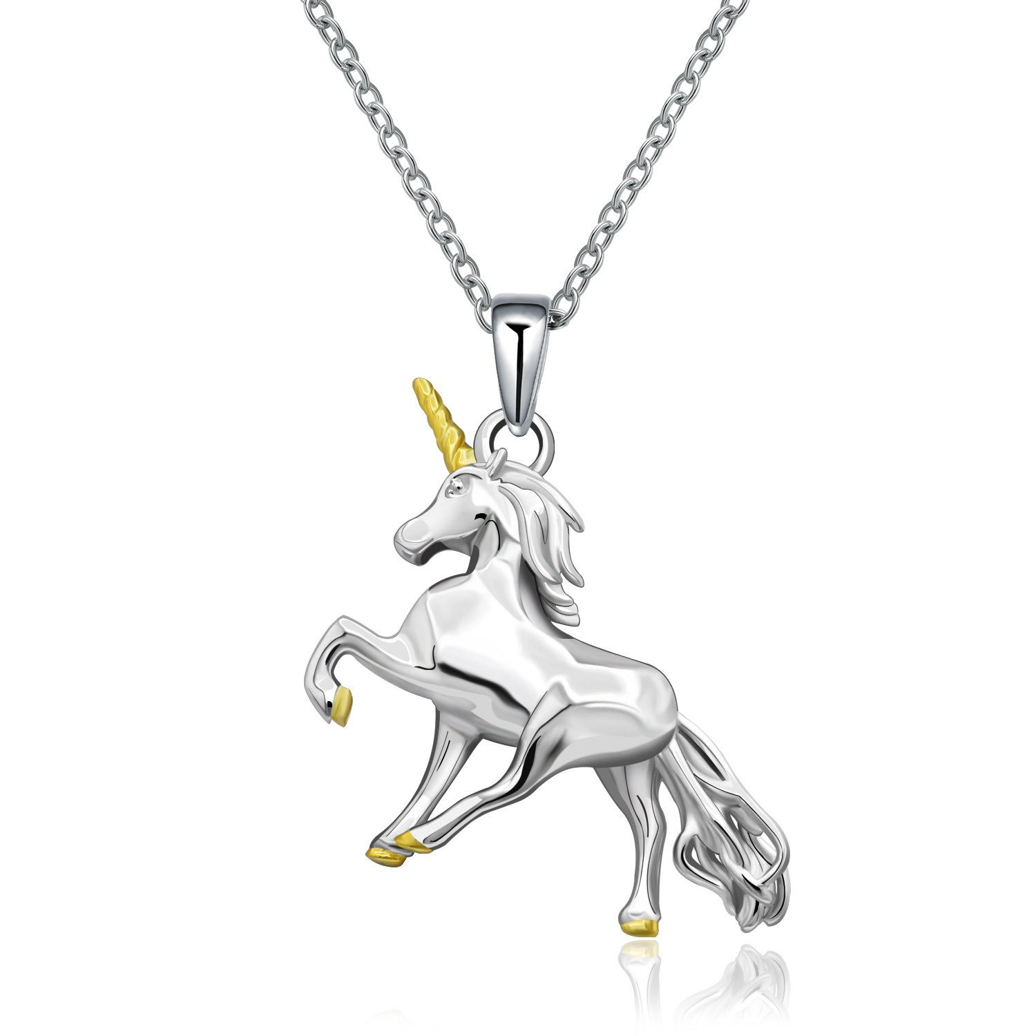 MONBO Silver Unicorn Necklace Gift 925 Sterling Silver Fairytale Unicorn Pendant Necklace for Women, Girls, Kids (Fairytale Unicorn)