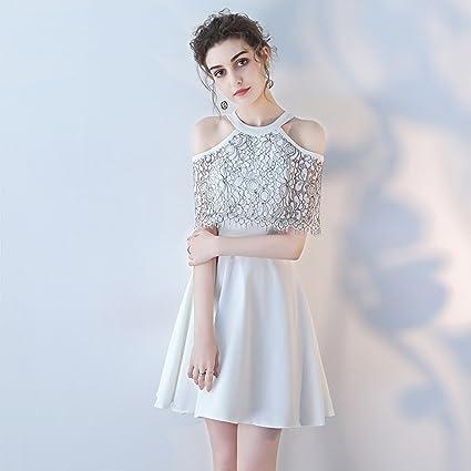 Vestido de noche Blanco Encaje + Tejido De Satén Elástico Hembra Moda Sección Corta Fiesta De