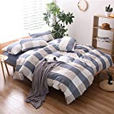 HIGHBUY Washed Cotton Plaid Pattern Duvet Cover Set King for Boys Men Geometric Grid Print Soft Full Bedding Sets Reversible Dark Blue Khaki with Zipper Closure Corner Ties