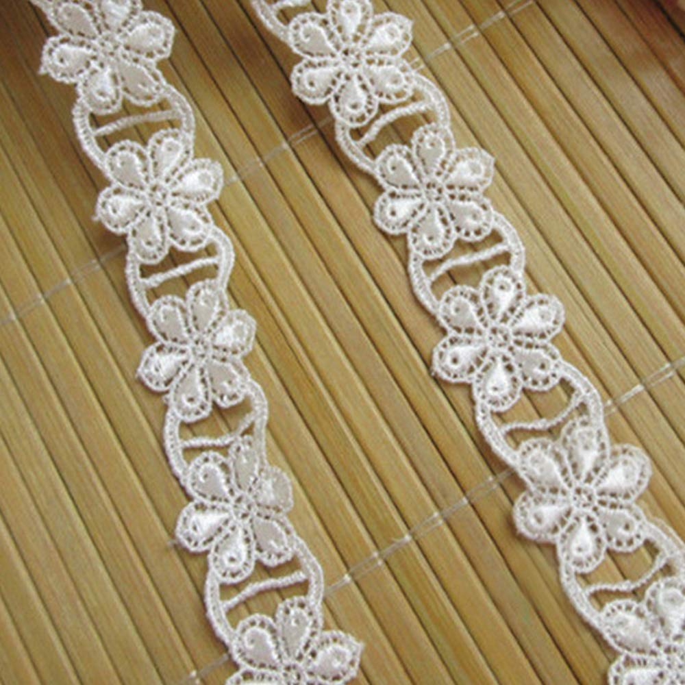 5 Meters Polyester Lace Edge Trim Ribbon 2 cm Width Flower Vintage White Edging Trimmings Fabric Embroidered Applique Sewing Craft Wedding Bridal Dress Embellishment DIY Decoration Clothes Embroidery Qiuda