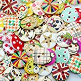 100pcs Mixed Wooden Buttons in Bulk Buttons for Crafts Button Round Colorful