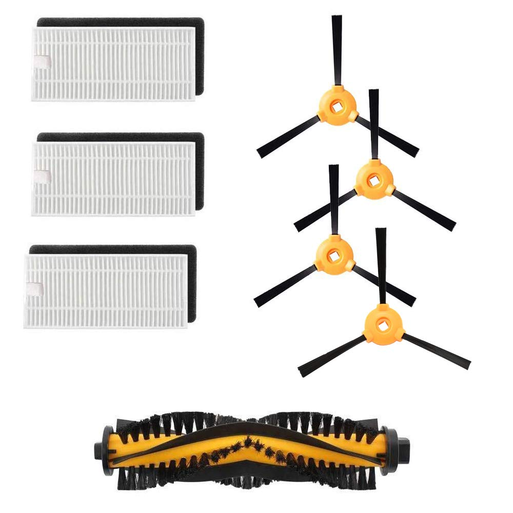 Yonice 1 Brush& 3 Hepa Filters & 3 Side Brushes for Ecovacs Deebot N79 N79S DN620 DN621 DN622 Robot Vacuum Cleaner Replacement Par