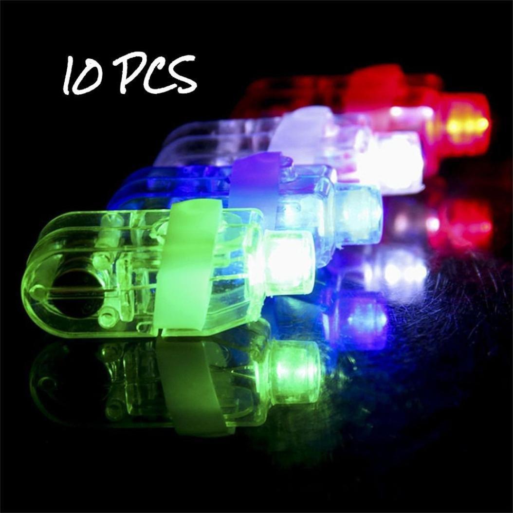 Livoty 10PCS LED Light Up Flashing Finger Rings Glow Party Favors Kids Children Toys (random)