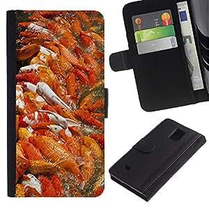 Planetar® Modelo colorido cuero carpeta tirón caso cubierta piel Holster Funda protección Para Samsung Galaxy Note 4 IV / SM-N910 ( Koi Pond Fishing Orange Nature Spring )