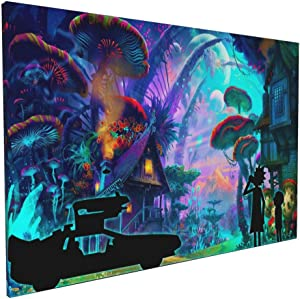 Bestrgi Wall Art for Living Room Posters On Canvas Painting Rick and Morty Modern Landscape Paints Pictures Decorations Waterproof Framed 16x24 Inches Wall Decor No Frame Only Canvas Ready to Hang