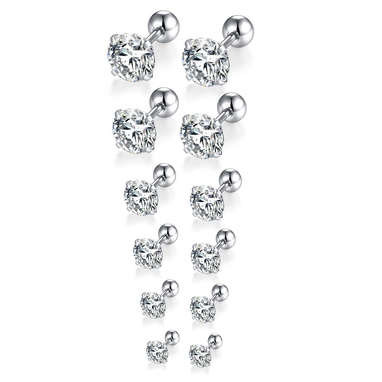 FOSIR 6 Pair 18G Stainless Steel Stud Earrings for Men Women Cartilage Ear Piercings CZ Inlaid 3-8mm