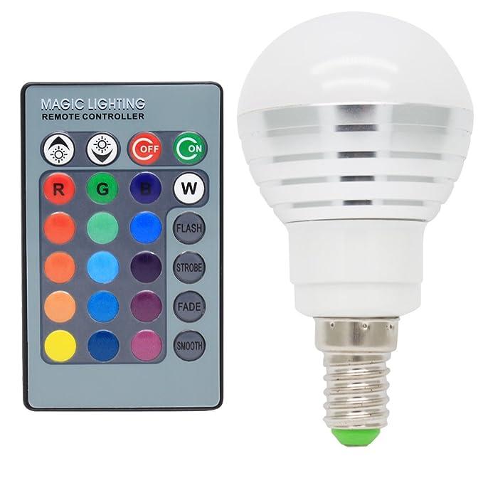 E14 Bombillas de Colores 3W LED de Colores 16 Cambio de Color de 120 Grados Cambia Color RGB + Teledirigido: Amazon.es: Iluminación