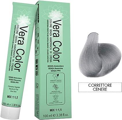 Vera Color - Corrección del Color Ceniza - Tinte Profesional Permanente, Tinte en Crema Sin Amoníaco con Queratina Vegetal, Aloe Vera y Bayas de Goji ...