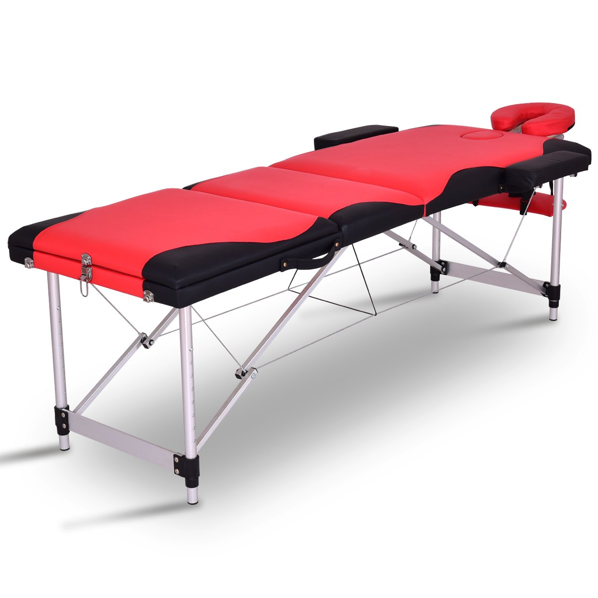 Giantex Spa Beds Massage Tables 84 L 3 Section Portable Salon Massaging Table Wood Aluminum Frame Home Beauty Equipment Face Cradle Armrests 7 Adjustable Height Facial Tattoo Bed w Carry Case Red