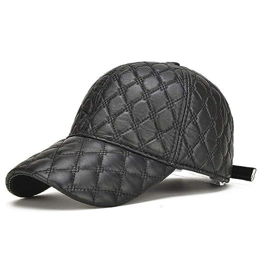 Xuguiping - Gorra de béisbol de Piel de Oveja para Hombre Negro ...