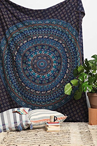 Indian-Hippie Bohemian-Psychedelic Queen-size-large-mandala Wall-tapestry-for-bedroom-84x90-Inches (Hippie Tattoo Designs)